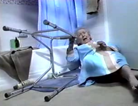 The Life Alert Lady - she's fallen and she can't get up.